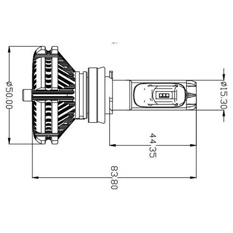 Набор светодиодного головного света UP-X3HL-H11W-6000LM (H11, 6000 лм, холодный белый) - Просмотр 2