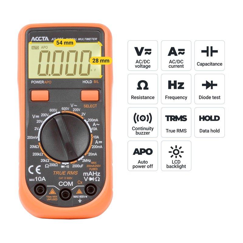 Цифровий мультиметр Accta AT-205 Зображення 6
